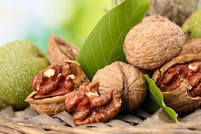 сочные расколотые грецкие орехи