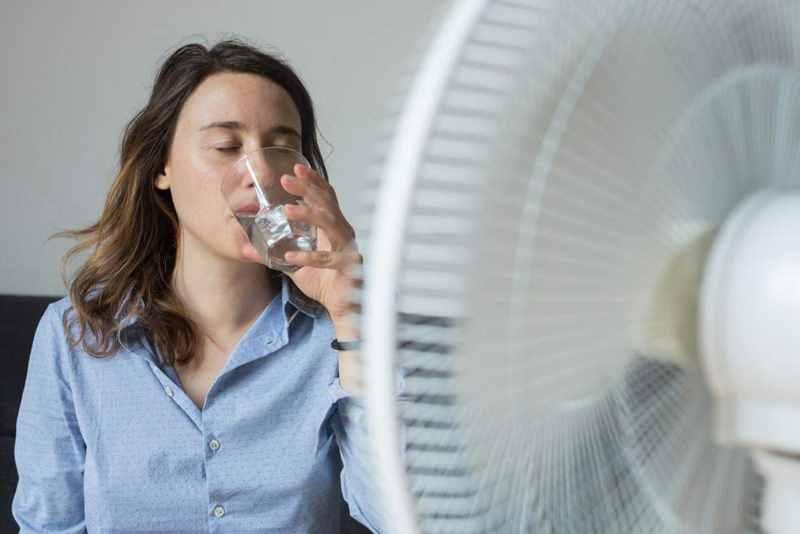 пить воду и охлаждаться вентилятором